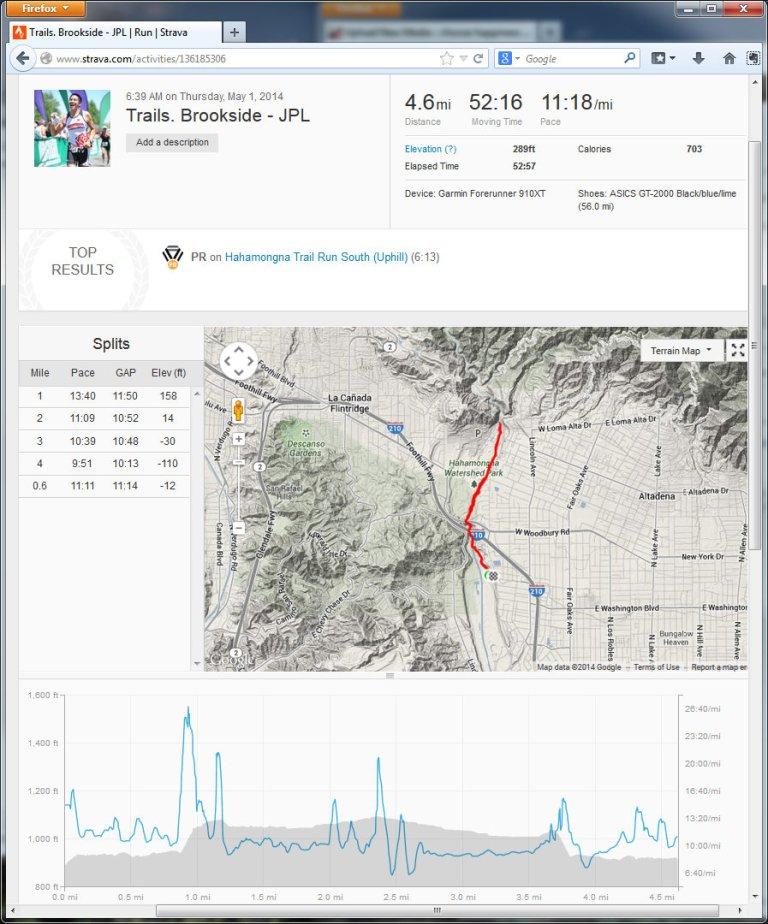 Trails. Brookside - JPL  Run  Strava - Mozilla Firefox 512014 84234 AM