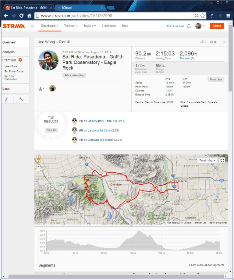 Sat Ride. Pasadena - Griffith Park Observatory - Eagle Rock  Ride  Strava - Google Chrome 8162014 104916 AM