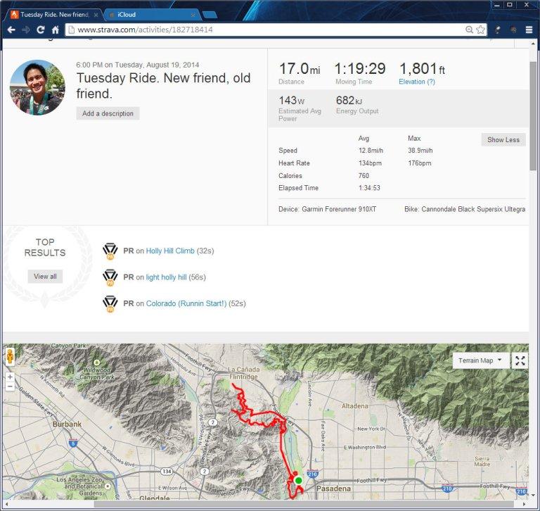 Tuesday Ride. New friend, old friend.  Ride  Strava - Google Chrome 8192014 83200 PM