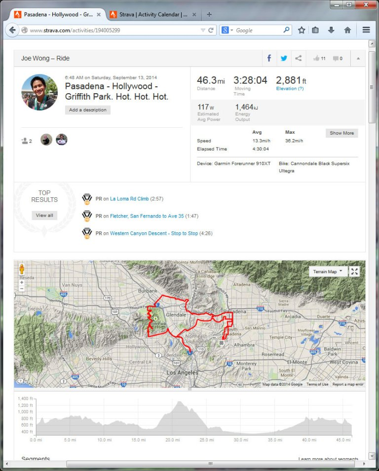 Pasadena - Hollywood - Griffith Park. Hot. Hot. Hot.  Ride  Strava - Mozilla Firefox 9142014 80709 PM