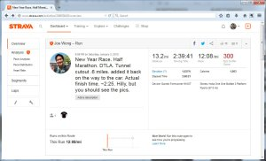 New Year Race. Half Marathon. DTLA. Tunnel cutout .6 miles. added it back on the way to the car....  Run  Strava - Mozilla Firefox 142015 40316 PM
