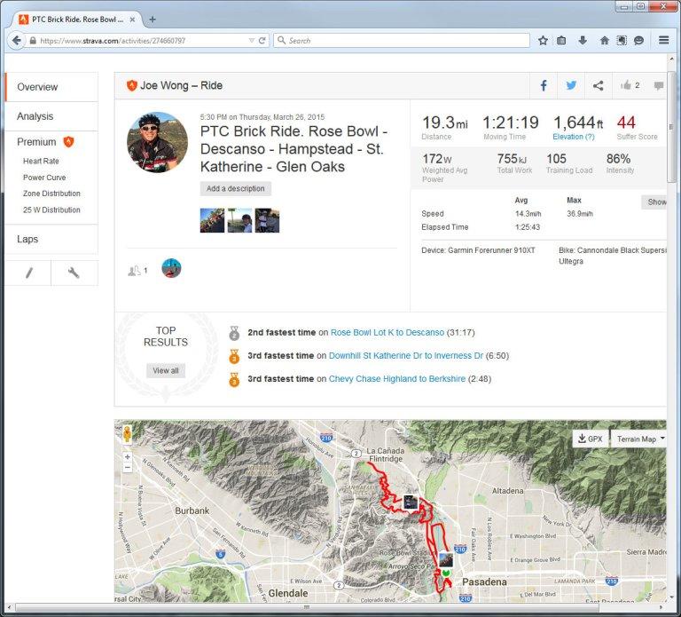 PTC Brick Ride. Rose Bowl - Descanso - Hampstead - St. Katherine - Glen Oaks  Ride  Strava - Mozilla Firefox 3262015 102201 PM