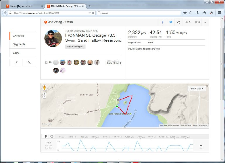 IRONMAN St. George 70.3. Swim. Sand Hallow Reservoir.  Swim  Strava - Mozilla Firefox 552015 83219 PM