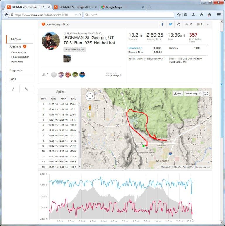 IRONMAN St. George, UT 70.3. Run. 92F. Hot hot hot.  Run  Strava - Mozilla Firefox 552015 83736 PM