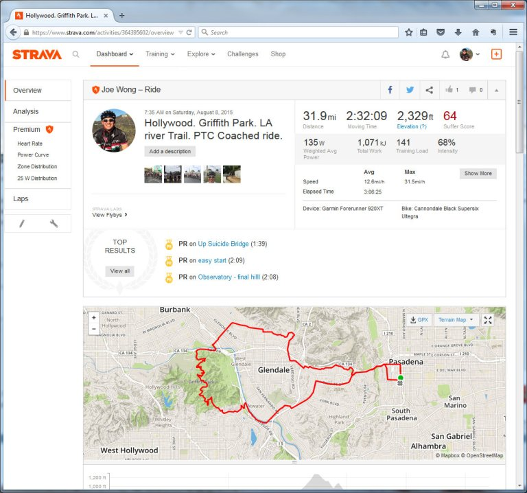 Hollywood. Griffith Park. LA river Trail. PTC Coached ride.  Ride  Strava - Mozilla Firefox 882015 121201 PM