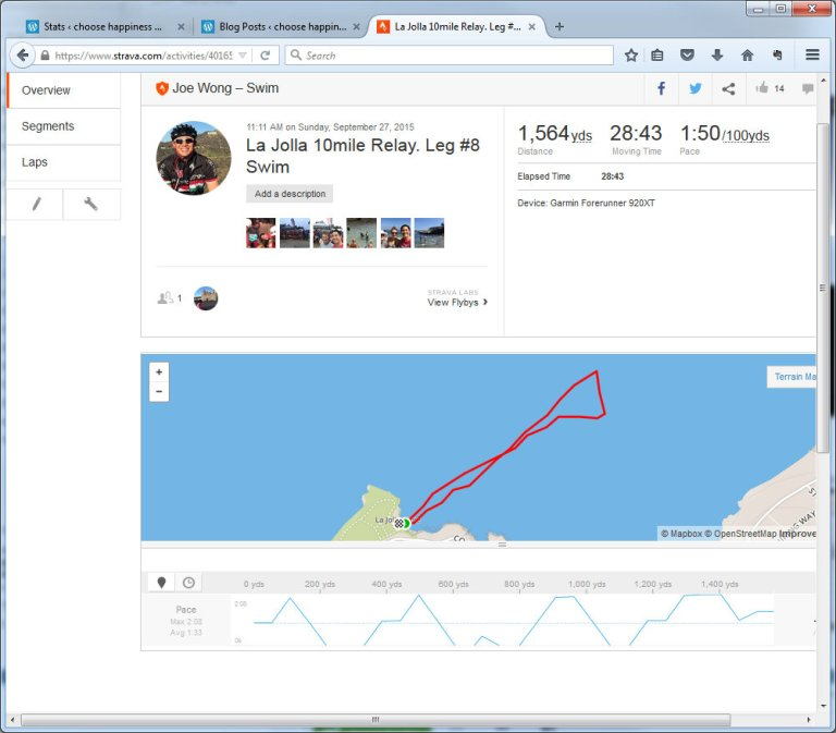 La Jolla 10mile Relay. Leg #8 Swim Swim Strava - Mozilla Firefox 9272015 71736 PM