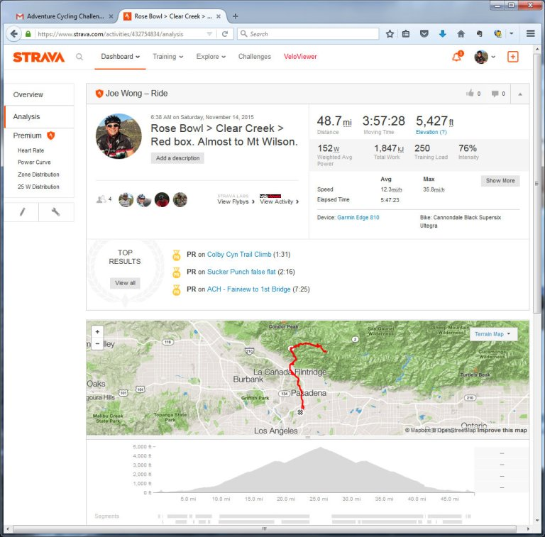Rose Bowl  Clear Creek  Red box. Almost to Mt Wilson.  Ride  Strava - Mozilla Firefox 11142015 22007 PM