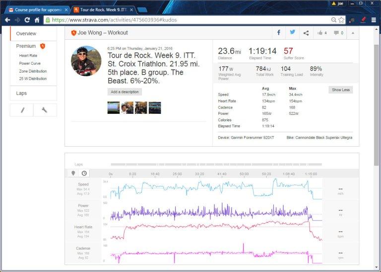 Tour de Rock. Week 9. ITT. St. Croix Triathlon. 21.95 mi. 5th place. B group. The Beast. 6%-20%.  Ride  Strava - Google Chrome 1212016 90640 PM