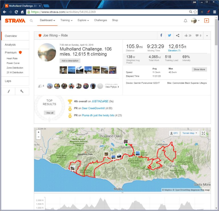 Mulholland Challenge. 106 miles. 12,615 ft climbing  Ride  Strava - Google Chrome 4112016 93531 AM