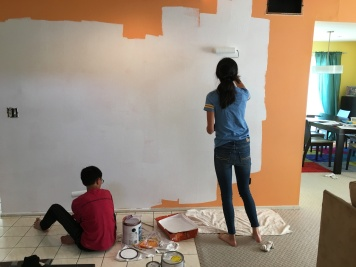 Kids and primer. Buh-bye, orange