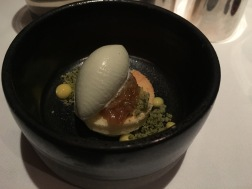 Japanese cheesecake, green ice cream, lemon